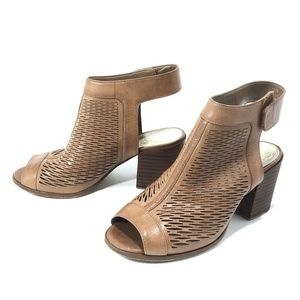 Vince Camuto Brown Leather Open Toe Cut Out Heels
